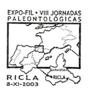 Fossil found place on commemorative postmark of Spain 2003
