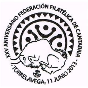 Steppe bison from cave piantig in Altamira cave on commemorative postmark of Spain 2013