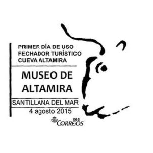 Steppe bison from cave piantig in Altamira cave on commemorative postmark of Spain 2015