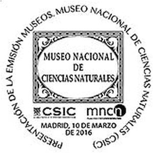 National History Museum on commemorative postmark of Spain 2016