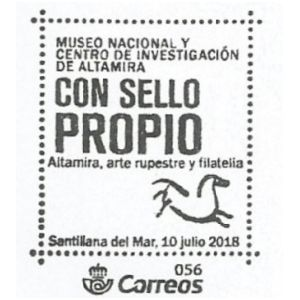 Horse from cave piantig in Altamira cave on commemorative postmark of Spain 2018