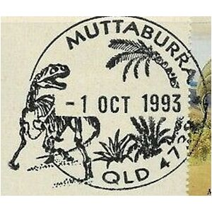 Allosaurus on commemorative postmark of Australia 1993 - Muttaburra