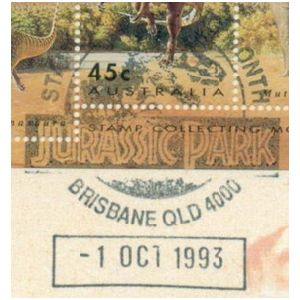 Fossil of Trex like, theropod dinosaur on commemorative postmark of Australia 1993 - Brisbane - Jurassic Park