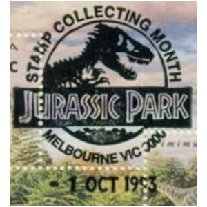 Fossil of Trex like, theropod dinosaur on commemorative postmark of Australia 1993 - Melbourne - Jurassic Park