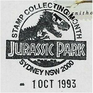 Fossil of Trex like, theropod dinosaur on commemorative postmark of Australia 1993 - Sydney - Jurassic Park