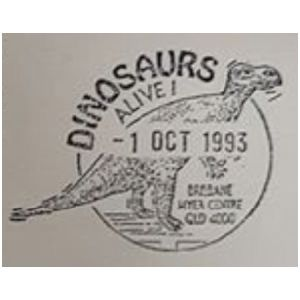 Muttaburrasaurus dinosaur on commemorative postmark of Australia 1993 - Brisbane - Dinosaurs alive !
