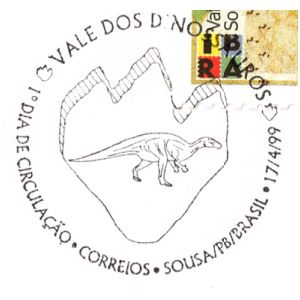 Dinosaur and its footprint on postmark of Brazil 1999