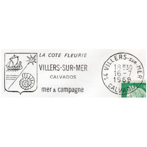 Ammonite on Villers sur Mer, La Cote Fleurie commemorative postmark of France 1969