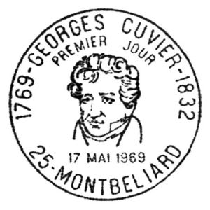 Famous French paleontologist Georges Cuvier on commemorative postmark of France 1969