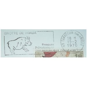 Prehistoric Ox from frescue from Grotte de Niaux on commemorative postmark of France 1970