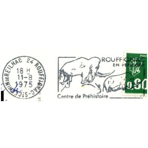 Prehistoric animals on commemorative postmark of Fance 1965-1975