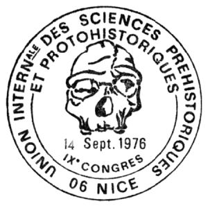 Tautavel man skull on commemorative postmark of France 1976 IX congress international union prehistoric and protohistoric sciences in Nice