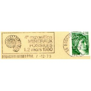 Ammonite fossil on commemorative postmark of France 1980