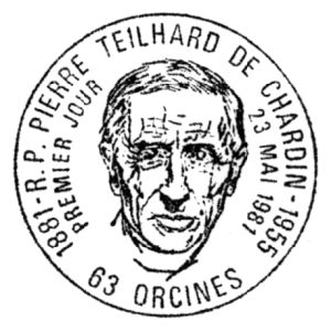 Anthropologist R.P. Pierre Teilhard de Chardin on commemorative postmark of France 1981