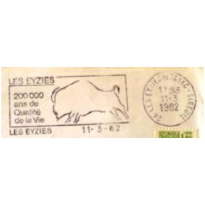 Prehistoric bison on commemorative postmark of France 1982