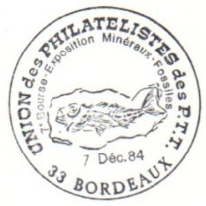 Fish fossil on commemorative postmark of France 1984