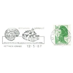 Ammonite on commemorative postmark of France 1987