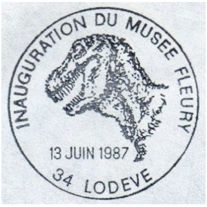 Dinosaur on commemorative postmark of France 1987