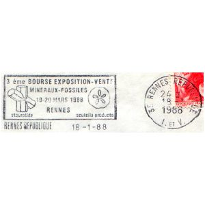 Fossil on commemorative postmark of France 1988