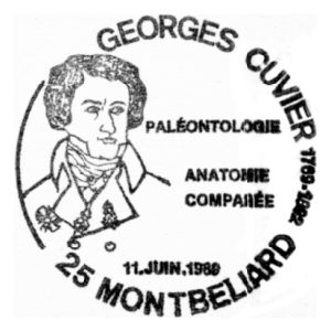 Georges Cuvier on commemorative postmark of France 1989
