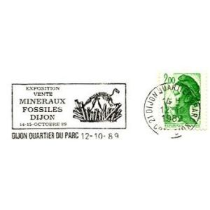 Dinosaurs fossil on commemorative postmark of France 1989