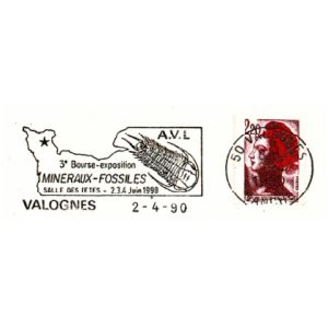Trilobite on commemorative postmark of France 1990