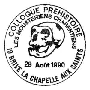 Skull of prehistoric man on commemorative postmark of France 1990