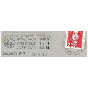 Ammonite on commemorative postmark of France 1993