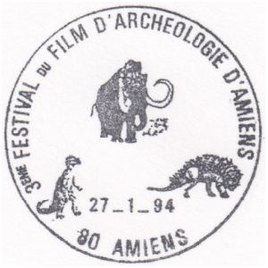 Prehistoric animals on commemorative postmark of France 1994