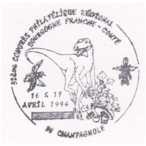 Dinosaurs on commemorative postmark of France 1994