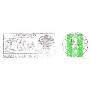 Shell Fossil on commemorative postmark of Fance 1996
