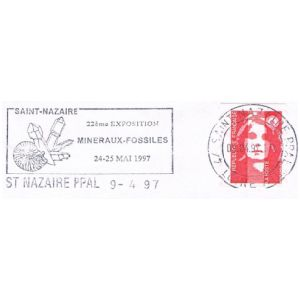 Fossil on commemorative postmark of France 1997