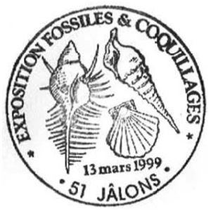 Fossil on commemorative postmark of France 1999