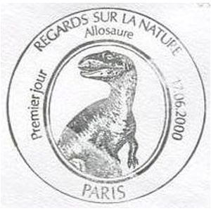 Allosaurus dinosaur on commemorative postmark of France 2000