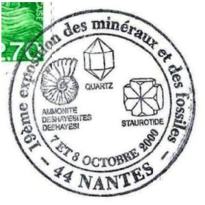 Ammonite on commemorative postmark of France 2000