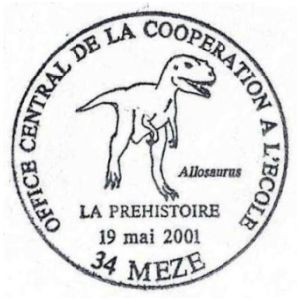 Allosaurus on commemorative postmark of France 2001