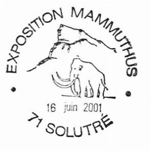 Mammoth on commemorative postmark of France 2001