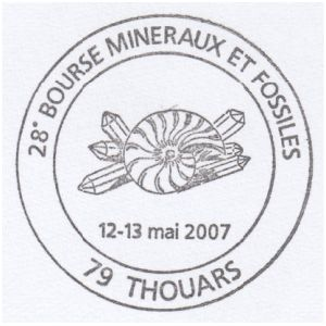 Ammonite on commemorative postmark of France 2019