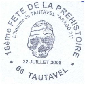Skull of Tautavel man on commemorative postmark of France 2008