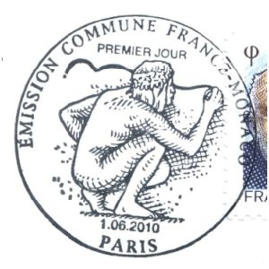 Prehistoric man on commemorative postmark of France 2010