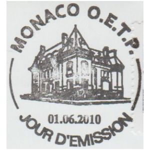 Institut de paleontologie humaine on commemorative postmark of France 2010