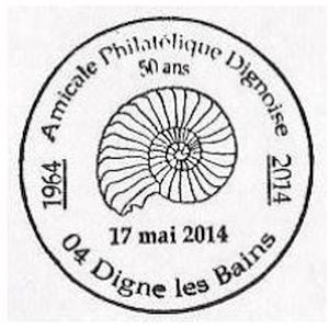 Ammonite on commemorative postmark of France 2014