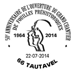 Tautavel man on commemorative postmark of France 2014