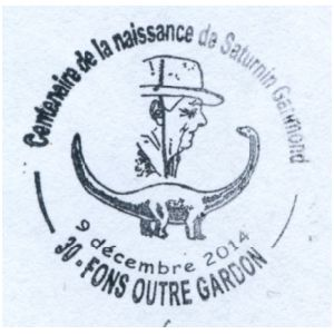 Saturnin Garimond and sauropod dinosaur on commemorative postmark of Fance 2014