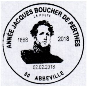 Jacques Boucher de Crèvecœur de Perthes on commemorative postmark of Rance 2018
