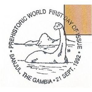Dinosaur on commemorative postmark of Gambia