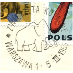 Mammoth on commemorative postmark of Poland 1966