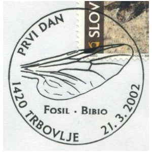 Fossil Insect from the Oligocene on commemorative postmark of Slovenia 2002