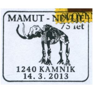 Mammoth fossil on commemorative postmark of Slovenia 2013