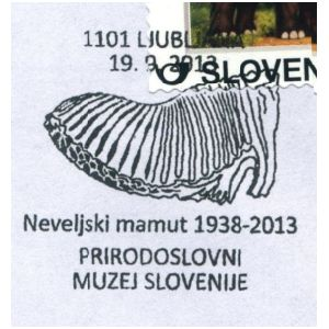 Mammoth tooth on commemorative postmark of Slovenia 2013